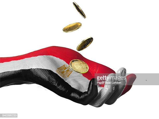 Hand painted flag of Egypt with gold coins