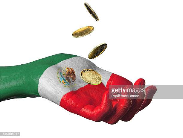 Hand painted flag of Mexico with gold coins