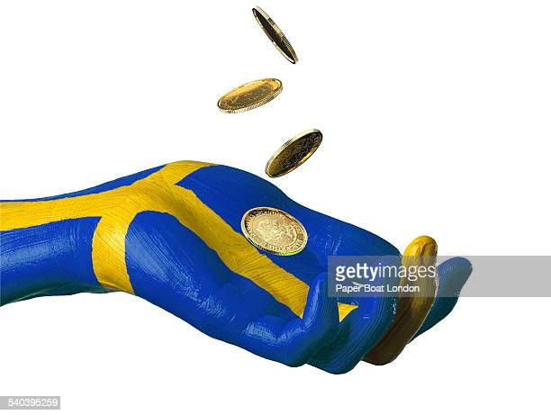 Hand painted flag of Sweden with gold coins