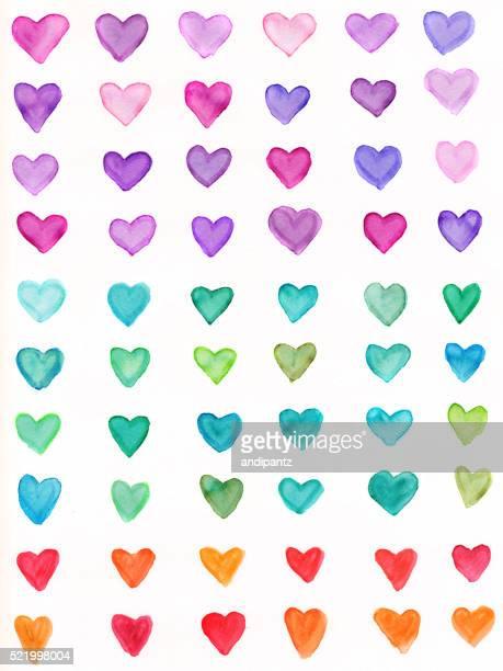 ハンドペイントのハートに、虹色のスペクトル