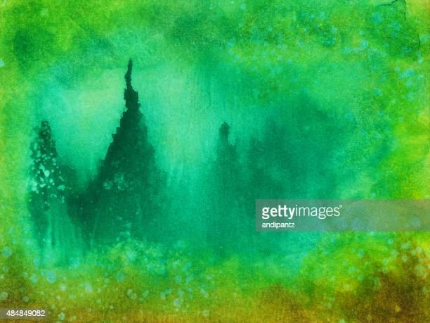 Paysage, peint à la main avec des feuilles des arbres dans les nuances de vert