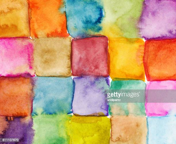 Hand painted watercolor squares in a rainbow of colors