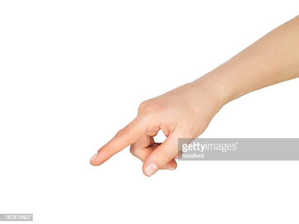 Main pointant du doigt vers le bas