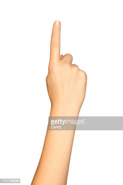 Hand zeigt auf weißem Hintergrund.
