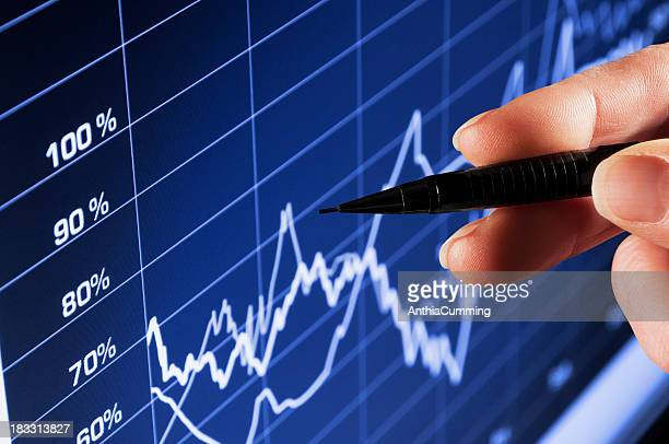 Hand pointing pen at performance chart on computer