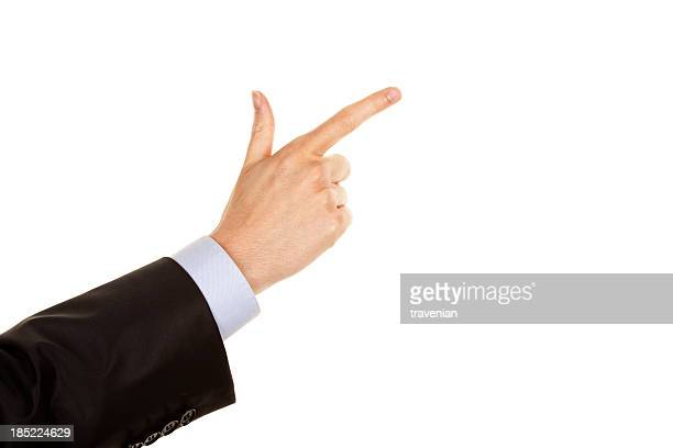 Hand pointing with index finger
