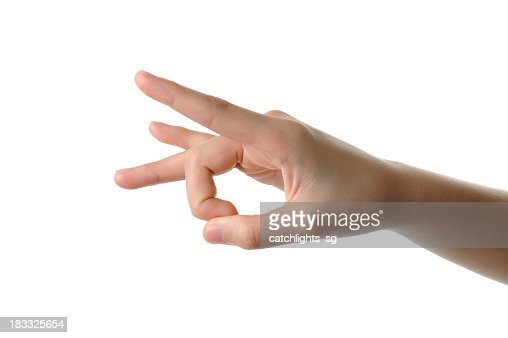 Hand poised to flick a finger on white background
