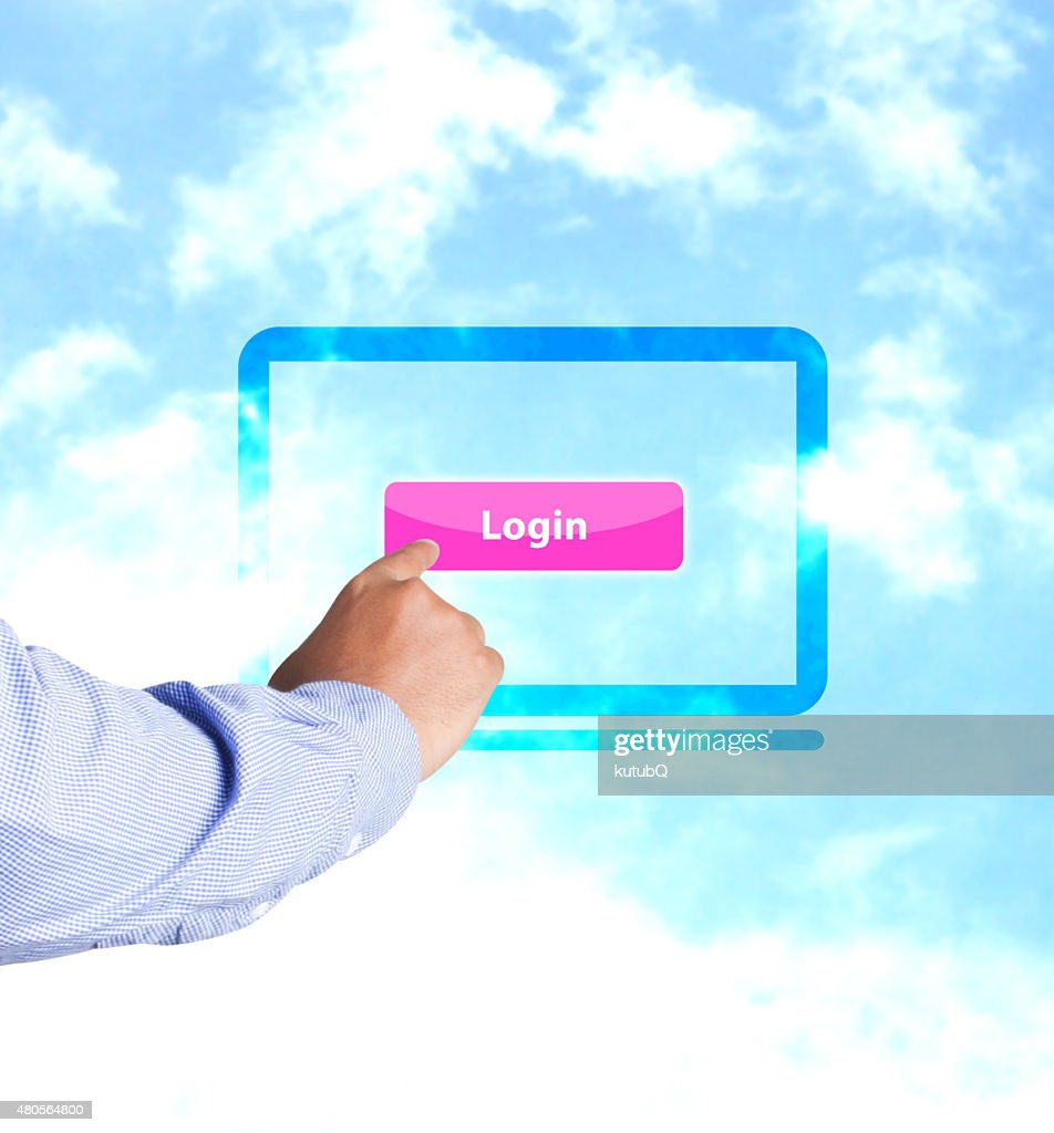 Hand pressing login button : Stock Photo