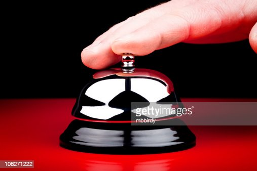 Hand Pressing Service bell : Stock Photo