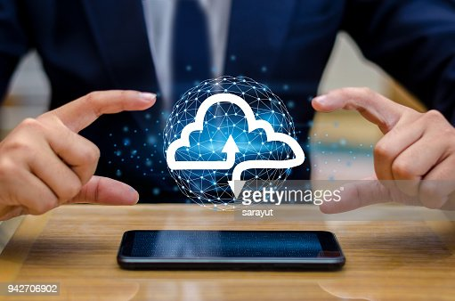 Hand print keyboard phone Press enter button on the computer hand businessman connect Cloud collect data Cloud computing concept  businessman or information computing icon : Stock Photo