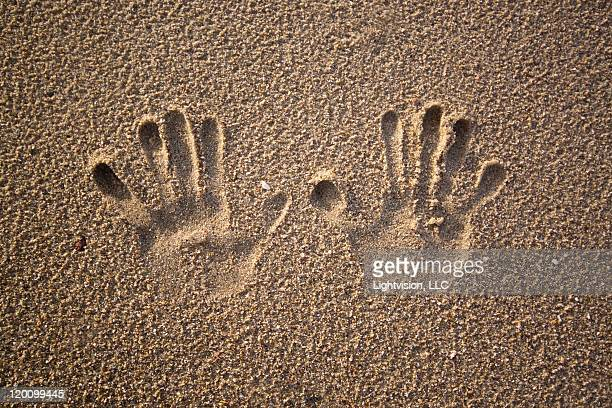 Hand prints in beach sand