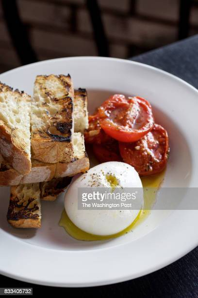 SPRING MD Hand pulled Burrata with Soused Tomatoes and Rustic Toast photographed at Lina's Diner in Silver Spring MD