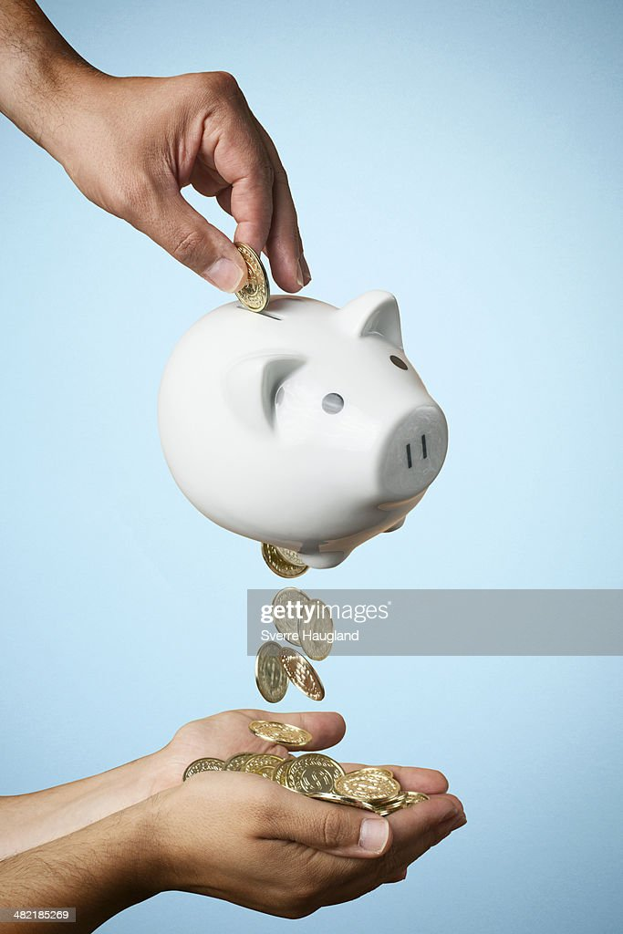 Hand putting coin into piggy bank and coins flowing out : Stock Photo