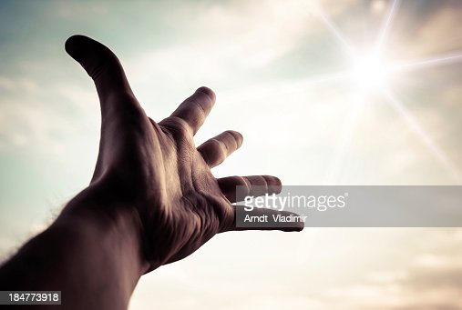 Hand reaching to towards sky. : Stock Photo