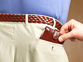 Hand removing the wallet from a man's pocket
