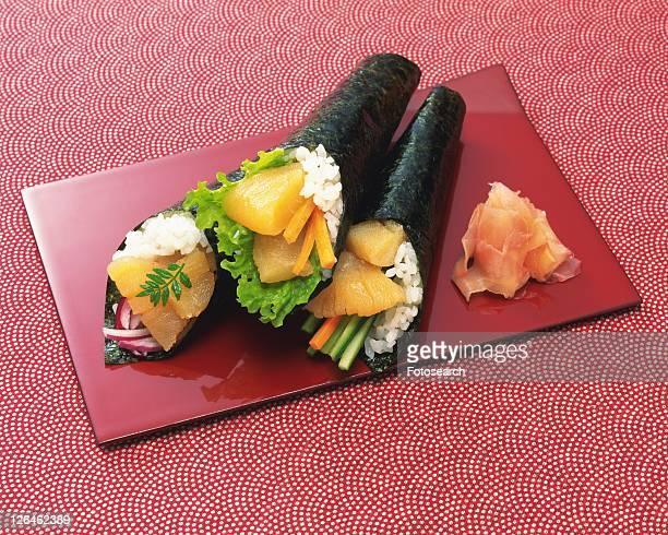 Hand Rolls Sushi, High Angle View