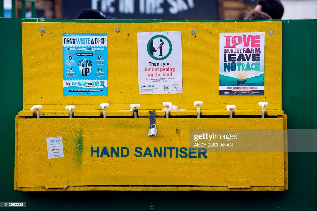 A hand sanitiser is pictured on day four of the Glastonbury Festival of Music and Performing Arts on Worthy Farm near the village of Pilton in Somerset, South West England on June 25, 2016. / AFP / Andy Buchanan