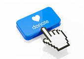 Hand shaped computer cursor is clicking on a blue computer button on white reflective surface. Donate writes on button. Horizontal composition with copy space and clipping path.  Donation and charity
