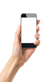 Closeup shot of a woman showing mobile phone isolated on white background. Female hand holding a modern smartphone. Hand showing a white phone's screen.