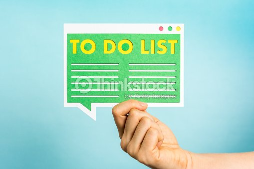 hand showing todo list or pending task checklist blue background