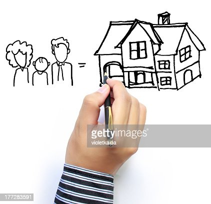 Hand shown drawing a family and house on white background : Stock Photo