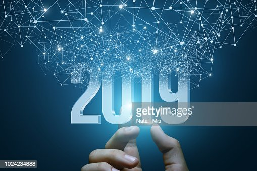 Hand shows the numbers 2019 . : Stock Photo