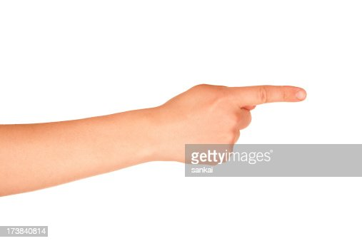 Hand sign. Pointing or pressing