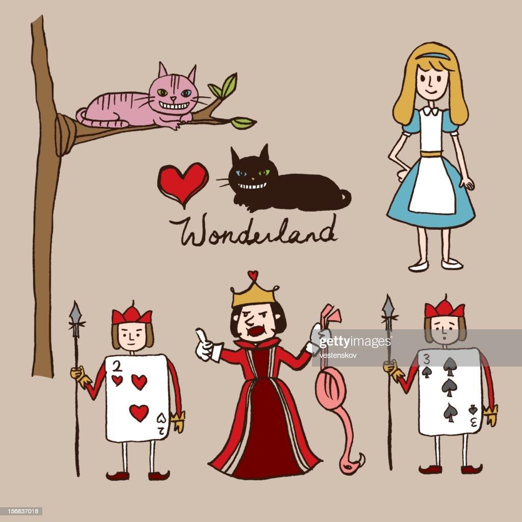 hand sketch alice in wonderland characters
