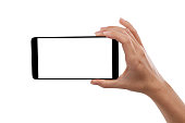 hand smartphone Isolated on white background Clipping Path