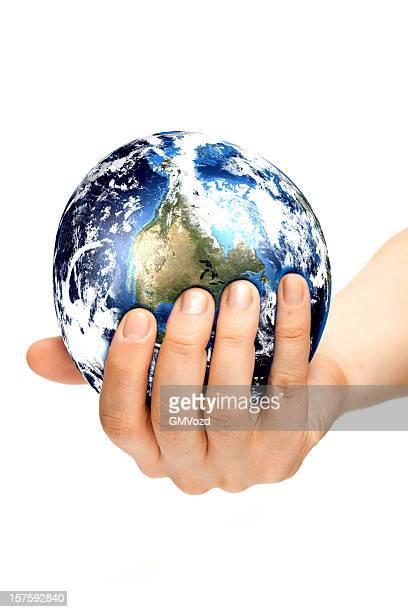 Hand drücken Erde