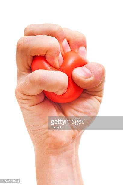 Mão Bola de Stress espremendo