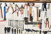 Hand tools arranged on a wall