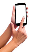 Photo isolated in white of a hand of a caucasian woman, touching the touch screen of a smartphone with white screen