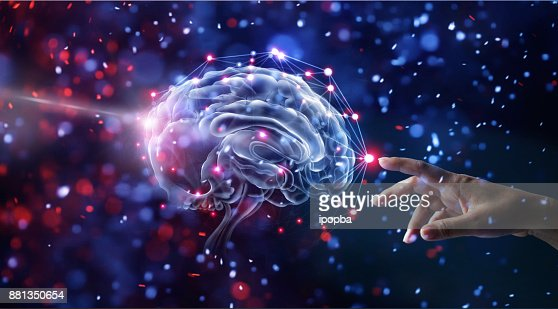 Hand touching brain and network connection on glitter bright lights colorful  background : Foto de stock