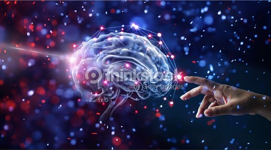 Hand touching brain and network connection on glitter bright lights colorful  background : Stock Photo
