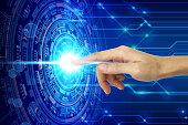 hand touching virtual screen technology, Artificial Intelligence Technology Concept