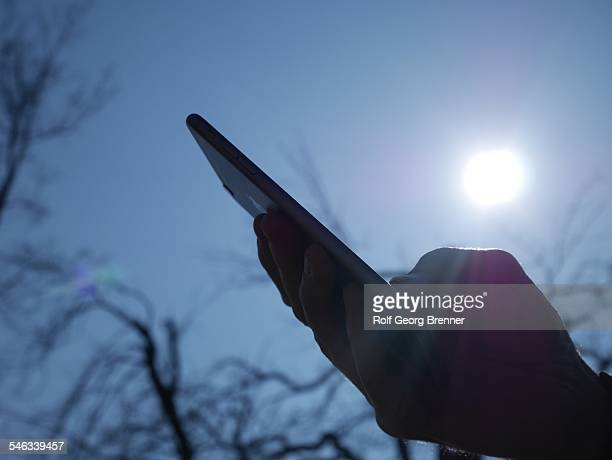 Hand using phablet