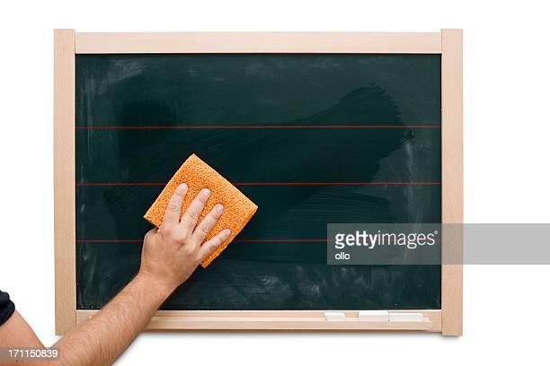 Hand wiping the blackboard
