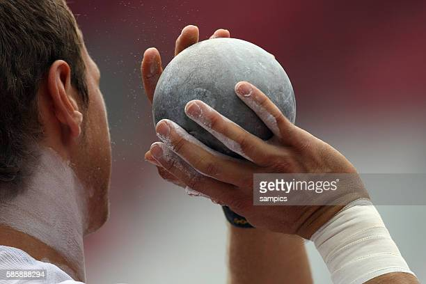 Hand with ball and magnesium during the 11th IAAF World Championships in Athletics at Nagai stadium of Osaka Japan