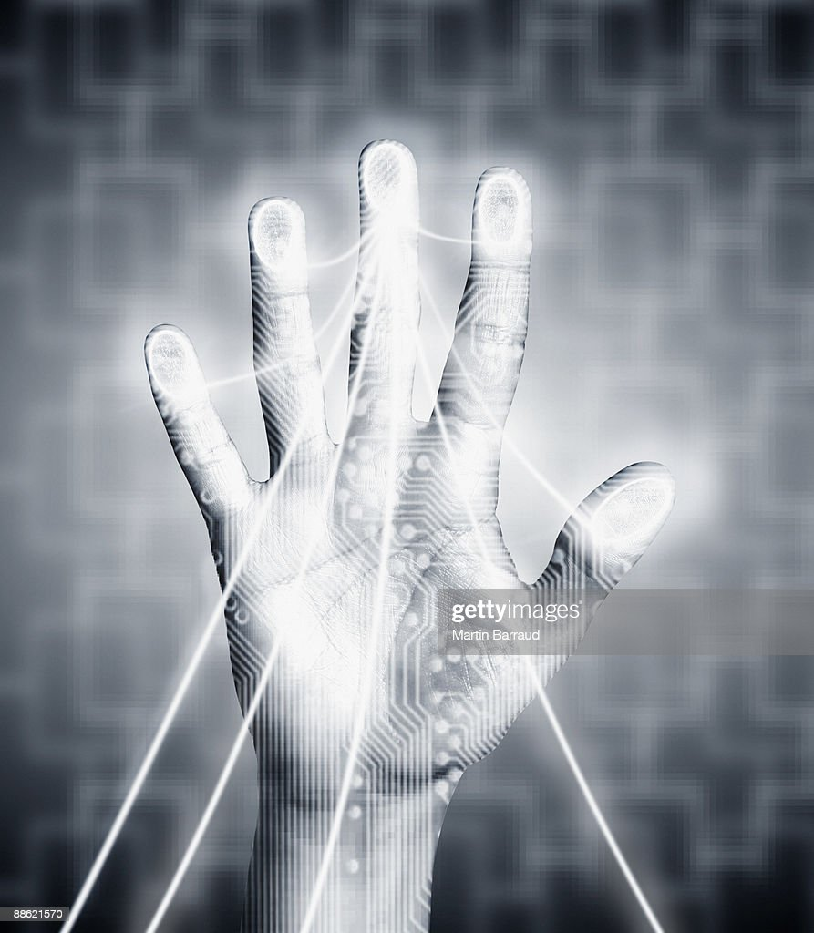 Hand with electricity streaming out : Stock Photo
