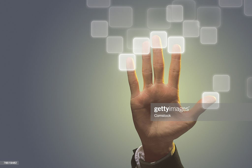 Hand with electronic fingerprints : Stock Photo