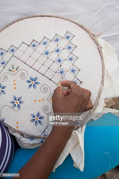 hand with embroidery in Trinidad, Cuba