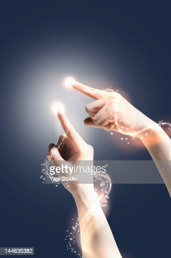 Hand with fibre optic light trail. : Stock Photo