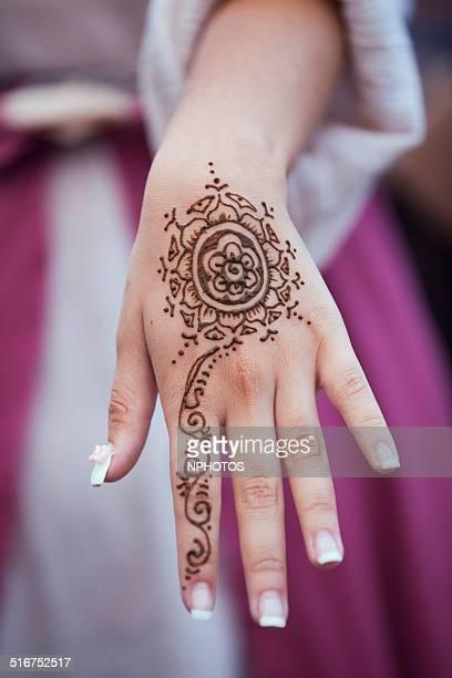Hand with henna design