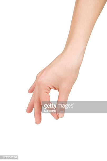 A hand with the index finger and thumb pinching