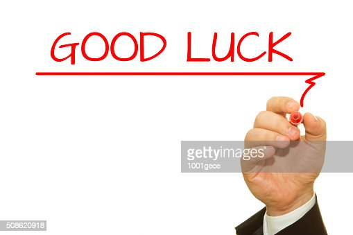 Hand writing Good Luck on transparent wipe board. : Stock Photo