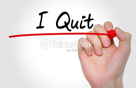 Hand Writing Inscription I Quit With Marker Concept Stock Photo