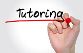 Hand writing inscription Tutoring with marker, concept,stock image