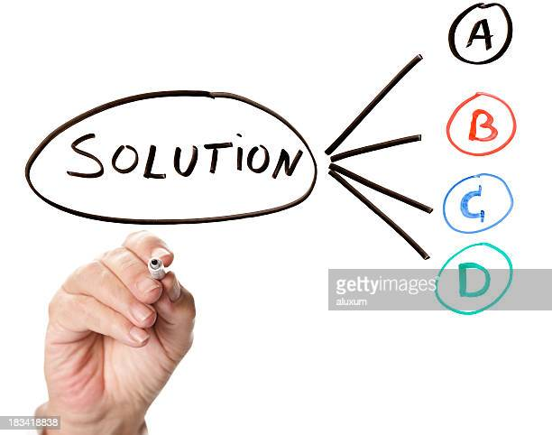 Hand writing out solutions A, B, C and D in marker