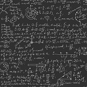 Hand writing physics formula on seamless blackboard